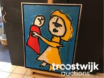 Origineel schilderij u201cherman broodu201d titel u201cmoeder en kindu201d troostwijk