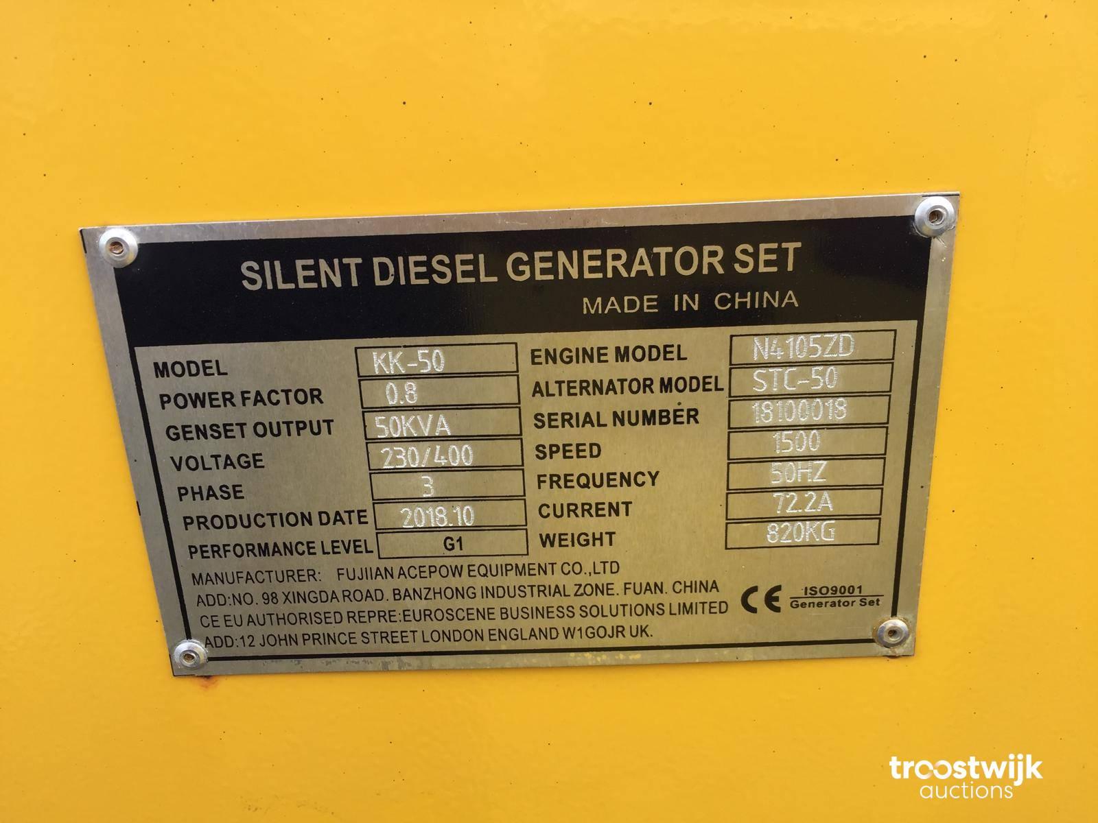 2018 Kawakenki 50 Silence genset / generator 50 kVA - Troostwijk