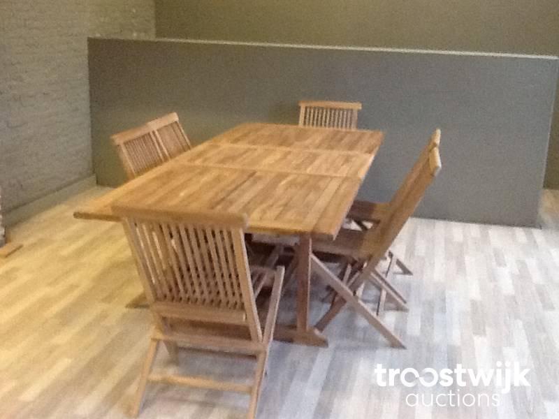 mobilier de jardin en bois de teck (table à rallonges + 6 ...
